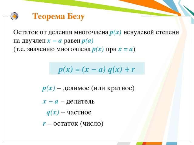 Теорема Безу р(x) = (x − а) q(x) + r Остаток от деления многочлена р(х) ненул...