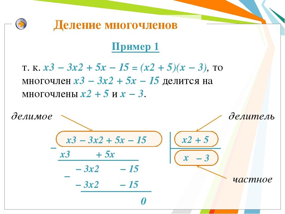 Деление многочленов х2 + 5 х3 + 5х − − 3х2 − 15 х − 3х2 − 15 0 т. к. х3 − 3х2...