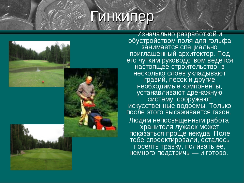 Гинкипер Изначально разработкой и обустройством поля для гольфа занимается сп...