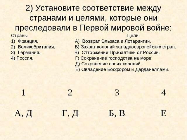 2) Установите соответствие между странами и целями, которые они преследовали...