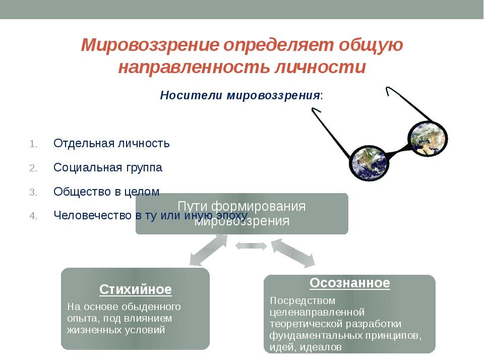 Мировоззрение определяет общую направленность личности Носители мировоззрения...