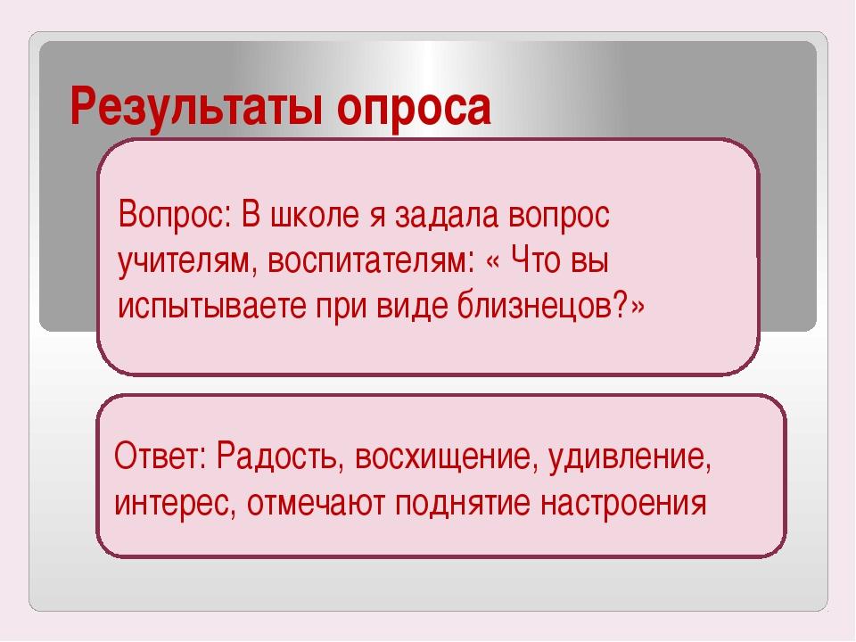 Результаты опроса Вопрос: В школе я задала вопрос учителям, воспитателям: « Ч...