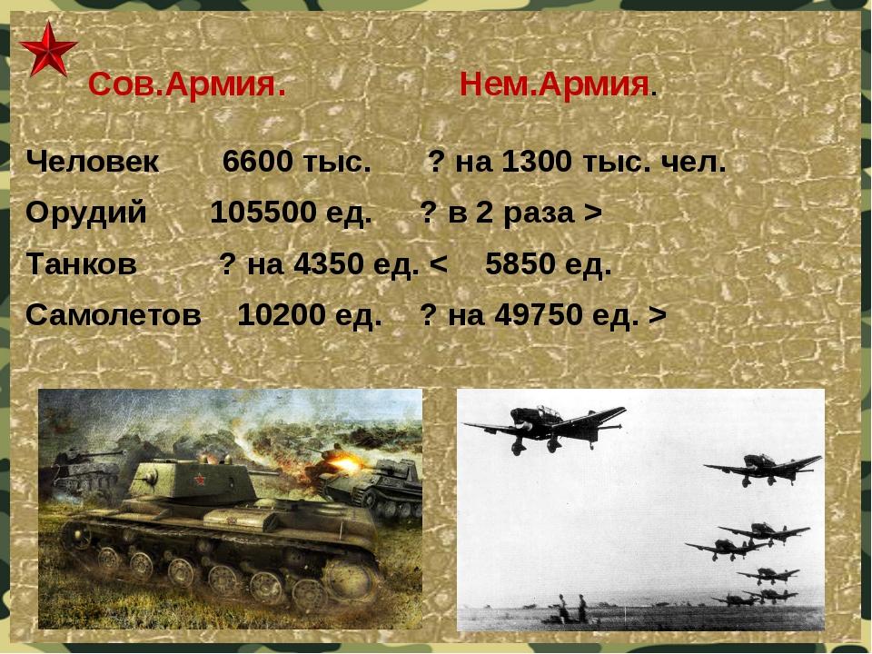 Сов.Армия. Нем.Армия. Человек 6600 тыс. ? на 1300 тыс. чел. Орудий 105500 ед...