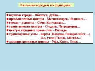 Различия городов по функциям: ■ научные города – Обнинск, Дубна… ■ промышленн