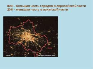 80% - большая часть городов в европейской части 20% - меньшая часть в азиатск