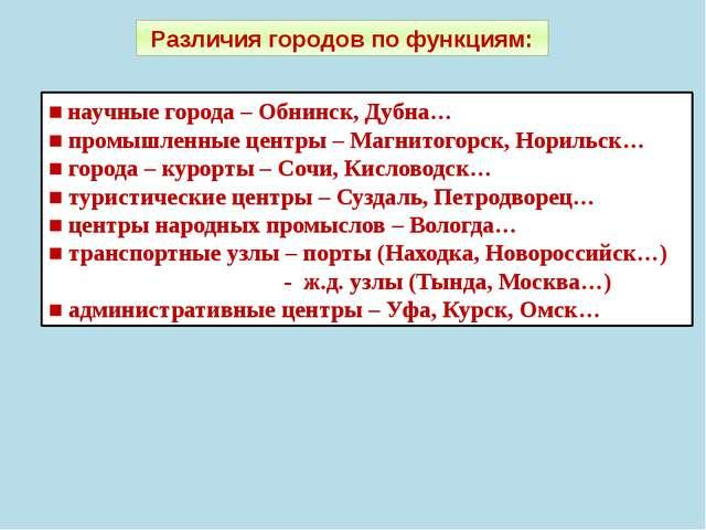 Различия городов по функциям: ■ научные города – Обнинск, Дубна… ■ промышленн...