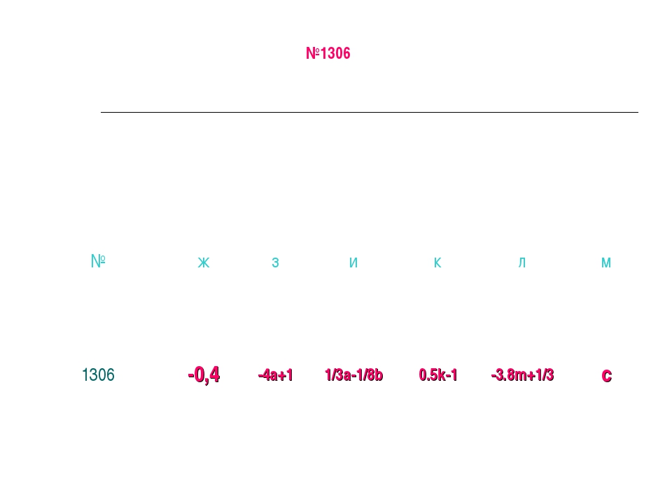 №1306 №жзиклм 1306-0,4-4а+11/3а-1/8b0.5k-1-3.8m+1/3c