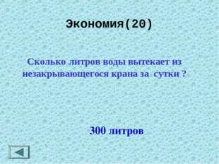 Экономия(20)  300 литров Сколько литров воды вытекает из незакрывающегося к