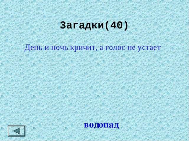 Загадки(40) водопад День и ночь кричит, а голос не устает