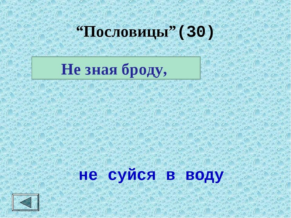 """""""Пословицы""""(30)  Не зная броду, не суйся в воду"""