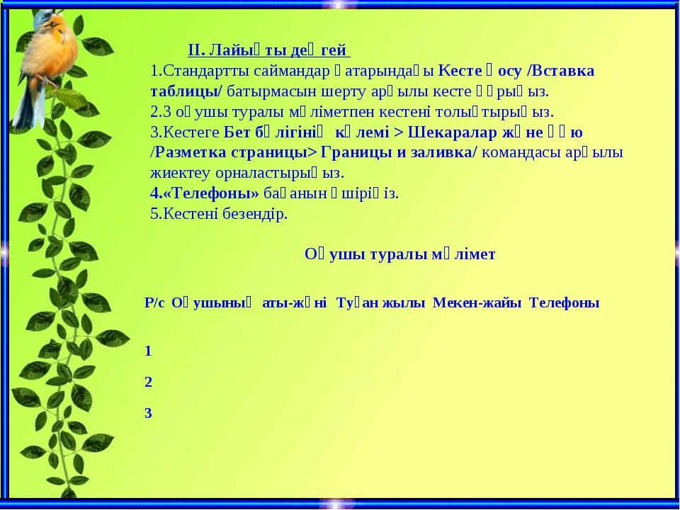 ІІ. Лайықты деңгей Стандартты саймандар қатарындағы Кесте қосу /Вст...