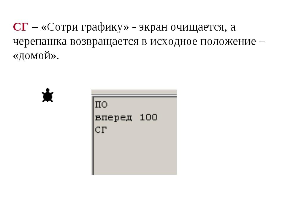 СГ – «Сотри графику» - экран очищается, а черепашка возвращается в исходное п...