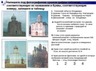 Напишите под фотографиями храмов цифры табличек, соответствующих их названиям