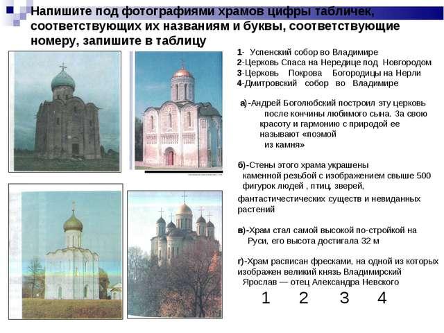 Напишите под фотографиями храмов цифры табличек, соответствующих их названиям...