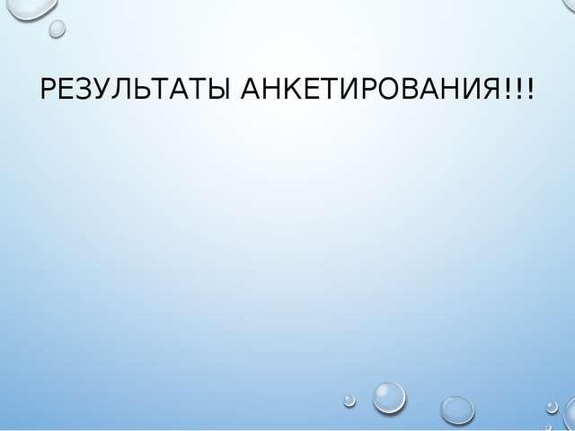 РЕЗУЛЬТАТЫ АНКЕТИРОВАНИЯ!!!