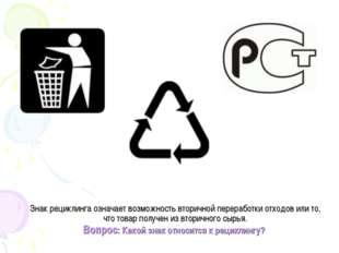 Знак рециклинга означает возможность вторичной переработки отходов или то, чт
