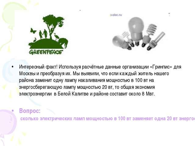 Интересный факт! Используя расчётные данные организации «Гринпис» для Москвы...
