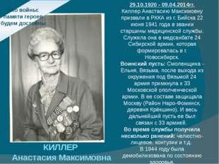 Эхо войны: памяти героев будем достойны КИЛЛЕР Анастасия Максимовна 29.10.192