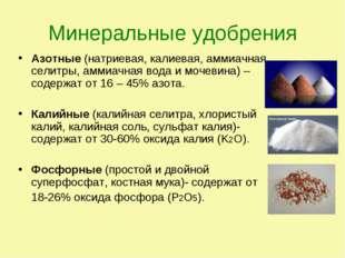 Минеральные удобрения Азотные (натриевая, калиевая, аммиачная селитры, аммиач
