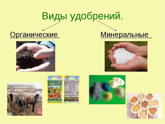 Виды удобрений. Органические Минеральные