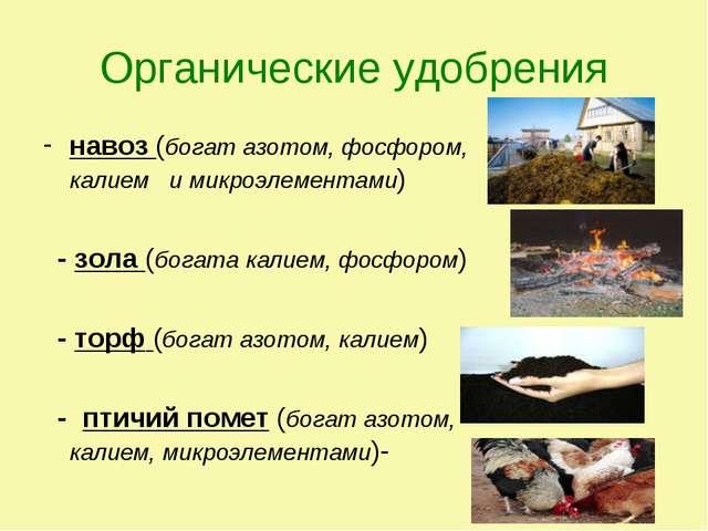 Органические удобрения навоз (богат азотом, фосфором, калием и микроэлементам...