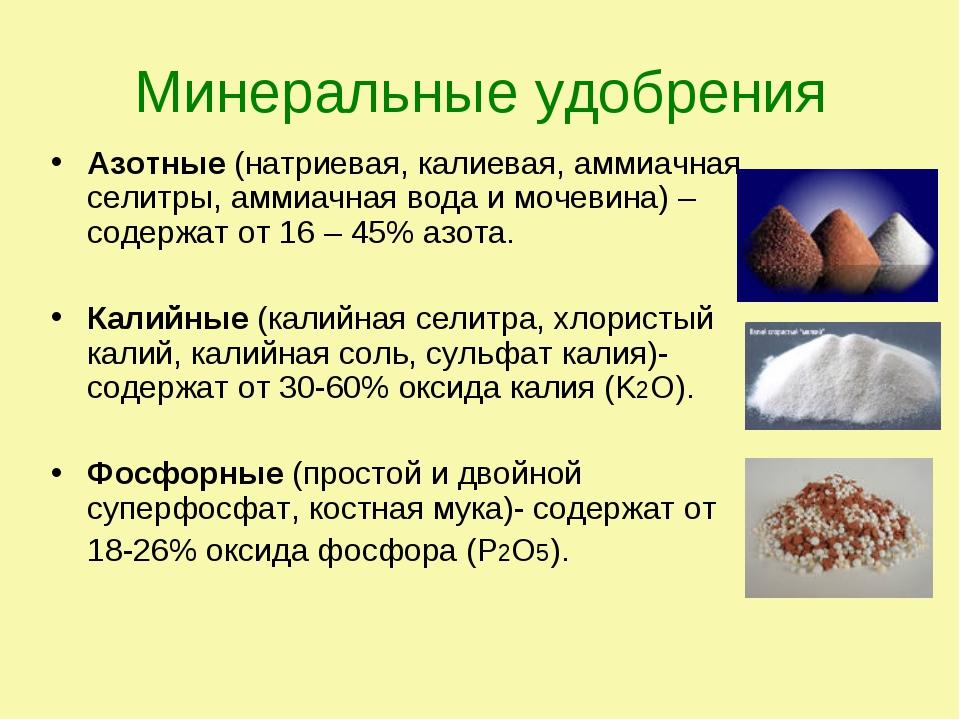 Минеральные удобрения Азотные (натриевая, калиевая, аммиачная селитры, аммиач...