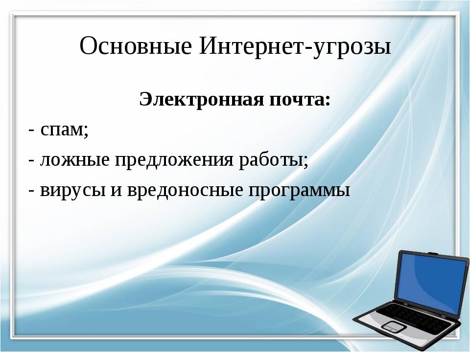 Основные Интернет-угрозы Электронная почта: - спам; - ложные предложения рабо...
