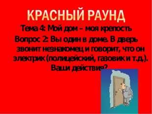 Тема 4: Мой дом – моя крепость Вопрос 2: Вы один в доме. В дверь звонит незна