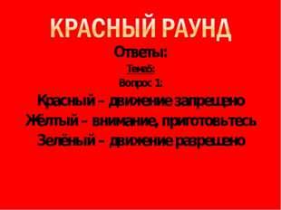 Ответы: Тема5: Вопрос 1: Красный – движение запрещено Жёлтый – внимание, приг