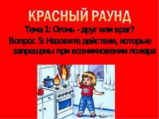 Тема 1: Огонь –друг или враг? Вопрос 5: Назовите действия, которые запрещены