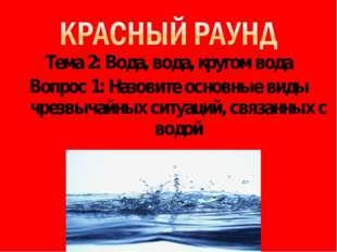 Тема 2: Вода, вода, кругом вода Вопрос 1: Назовите основные виды чрезвычайных