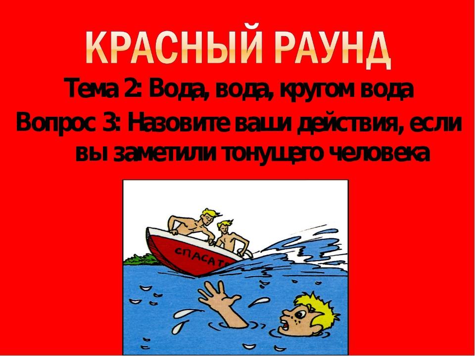 Тема 2: Вода, вода, кругом вода Вопрос 3: Назовите ваши действия, если вы зам...