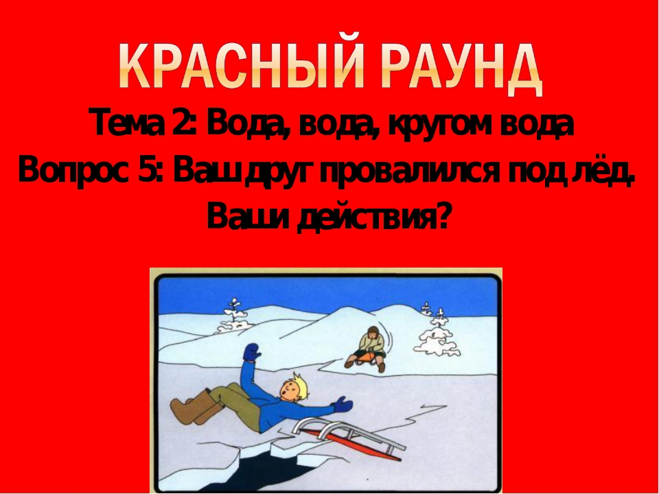 Тема 2: Вода, вода, кругом вода Вопрос 5: Ваш друг провалился под лёд. Ваши д...