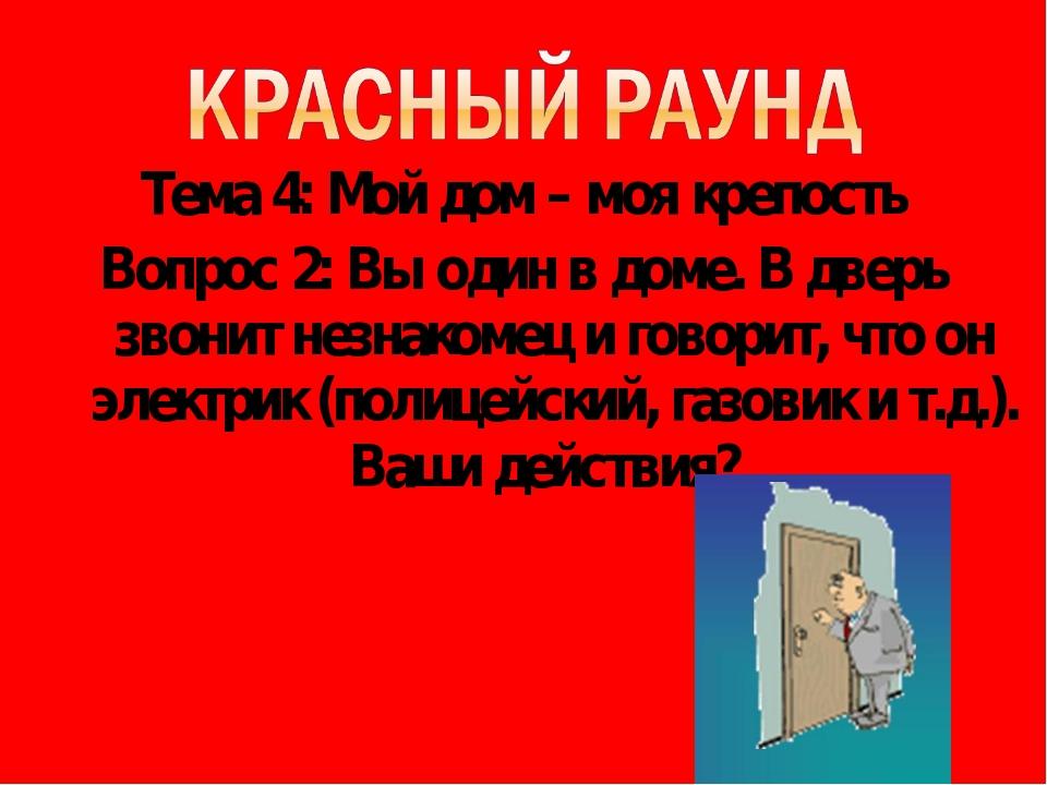 Тема 4: Мой дом – моя крепость Вопрос 2: Вы один в доме. В дверь звонит незна...