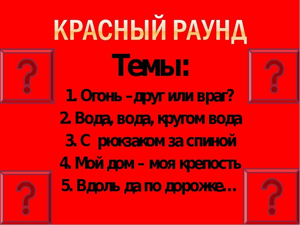 Темы: 1. Огонь –друг или враг? 2. Вода, вода, кругом вода 3. С рюкзаком за сп...