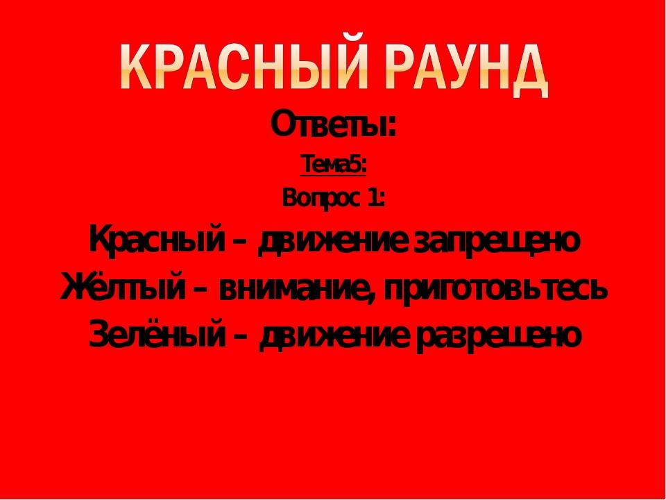 Ответы: Тема5: Вопрос 1: Красный – движение запрещено Жёлтый – внимание, приг...