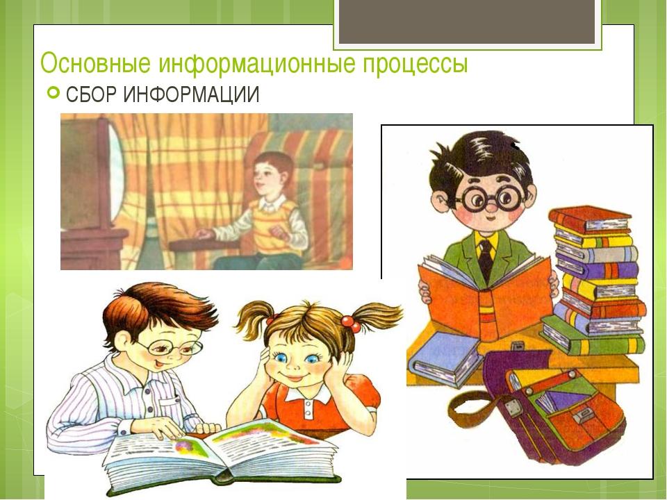 Основные информационные процессы СБОР ИНФОРМАЦИИ