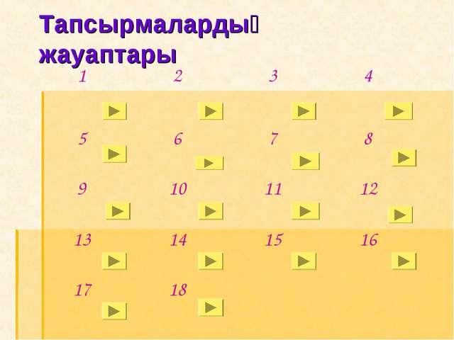 Тапсырмалардың жауаптары 123 4 5678 9101112 13141516 1718