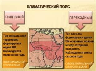 КЛИМАТИЧЕСКИЙ ПОЯС ОСНОВНОЙ ПЕРЕХОДНЫЙ Тип климата этой территории формируетс