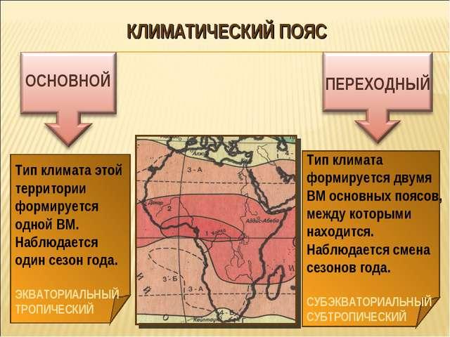 КЛИМАТИЧЕСКИЙ ПОЯС ОСНОВНОЙ ПЕРЕХОДНЫЙ Тип климата этой территории формируетс...