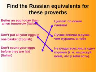 Find the Russian equivalents for these proverbs Better an egg today than a he