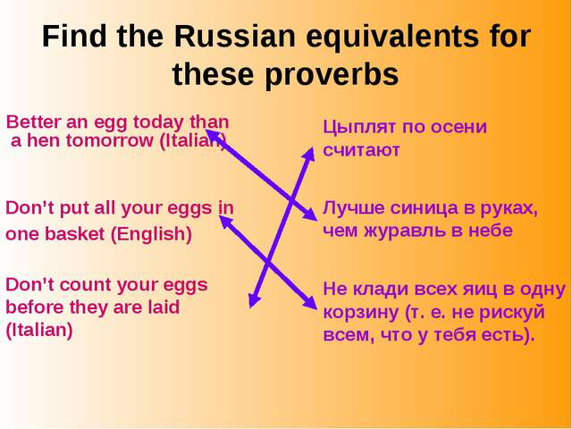 Find the Russian equivalents for these proverbs Better an egg today than a he...