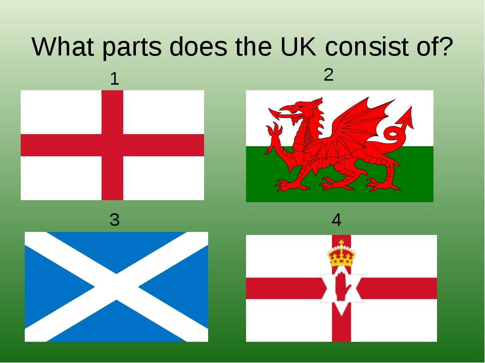 What parts does the UK consist of? 1 2 3 4