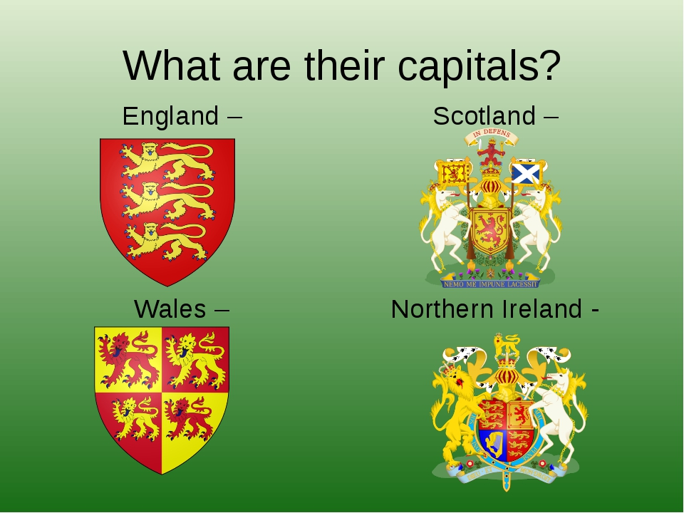 What are their capitals? England – Wales – Scotland – Northern Ireland -