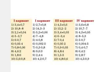 Iвариант Iвариант IIIвариант IVвариант 1) 3,4+0,7 2) 10,8–8 3) 2,1+0,04 4) 5–