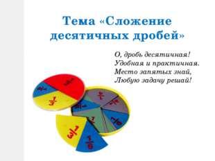 Тема «Сложение десятичных дробей» О, дробь десятичная! Удобная и практичная.