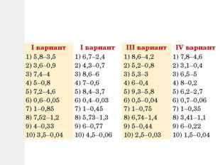 Iвариант Iвариант IIIвариант IVвариант 1) 5,8–3,5 2) 3,6–0,9 3) 7,4–4 4) 5–0,