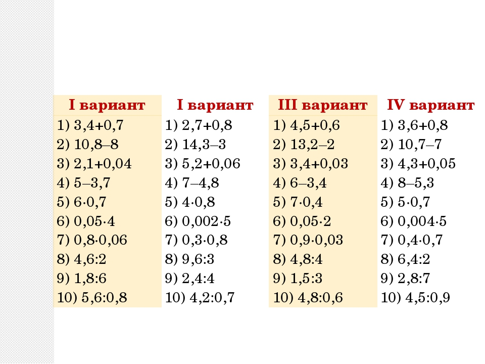 Iвариант Iвариант IIIвариант IVвариант 1) 3,4+0,7 2) 10,8–8 3) 2,1+0,04 4) 5–...