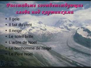 Расставьте соответствующие слова под картинками Il gele Il fait du vent Il ne
