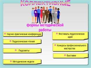 формы методической работы Научно-практические конференции Педагогические чтен